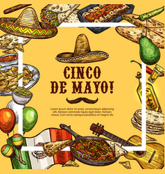 cinco de mayo mexican sombrero and fiesta food vector image