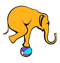 Circus elephant on the ball icon cartoon vector