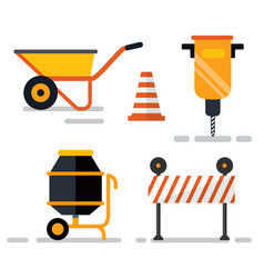 construction equipment cement mixer and signs vector image