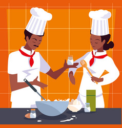 Couple professionals chef cooking in kitchen vector