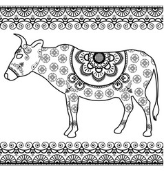 cow with border elements in ethnic mehndi style vector image