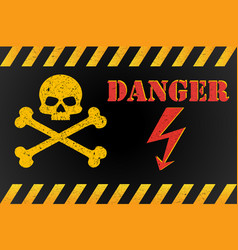 danger high voltage warning sign with skull vector image