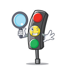 detective traffic light character cartoon vector image