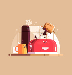 electric toaster with slice of toasted bread vector image