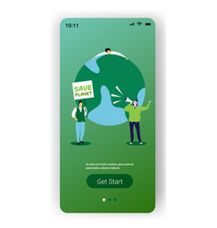 environmental activists holding poster save planet vector image