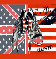 fashion background with usa sports boots vector image