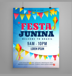 Festa junina celebration poster flyer design with vector