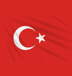 Flag turkey swaying in wind realistic vector