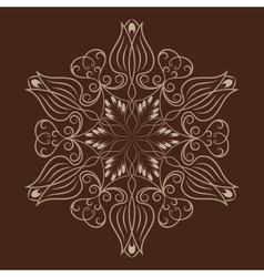 Flower mandala over dark brown vector
