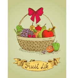 Fruit life gift basket with bow emblem vector image