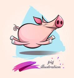 Funny cute crazy cartoon characters pig symbol vector
