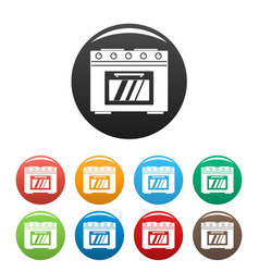Gas oven icons set color vector