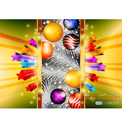 Glossy Merry Christmas with colorful stars vector