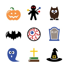 Halloween black icons set - pumpkin witch ghost vector image