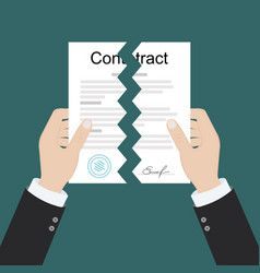 hands holding two parts torn contract flat vector image