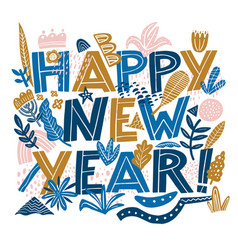 Happy new year banner in hand drawning typography vector
