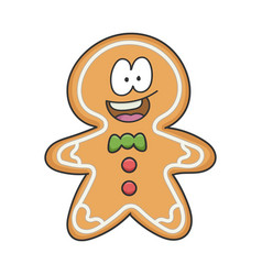 happy smiling christmas ginger bread cookie vector image