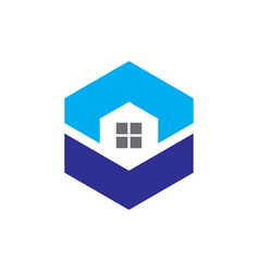 hexagon windows housing logo vector image