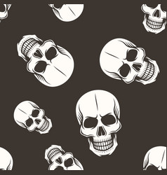 human skull seamless pattern white on dark vector image