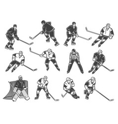 Ice hockey players goalkeeper and referee vector