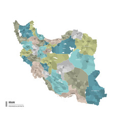 Iran higt detailed map with subdivisions vector