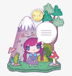 Kids cute little girl anime cartoon speech bubble vector