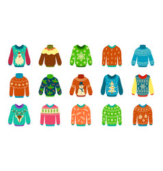 knitted sweater woolen ugly jumpers with vector image