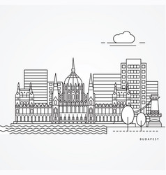 linear budapest hungary flat one line style trendy vector image
