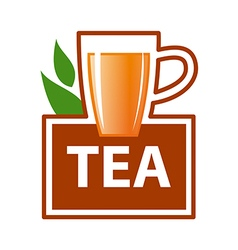 Logo mug of tea and green leaves vector