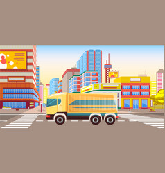 Lorry in city transportation cargo in town vector