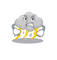 Mascot design concept cloud stormy with angry face vector