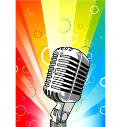 Microphone with colorful rays background vector