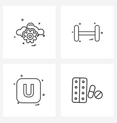 Modern line 4 simple line icons gear vector