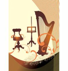 musical harp vector image