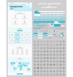 One Page Website and UI Elements Line Icons Kit vector