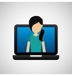 Open laptop black and avatar woman vector