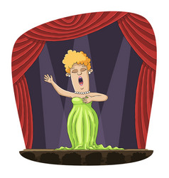 Opera singer on stage vector