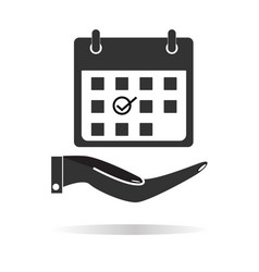 planning hand holding calendar icon with shadow vector image