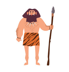 primitive archaic man wearing loincloth made of vector image