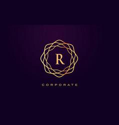 r luxury logo monogram letter design vector image