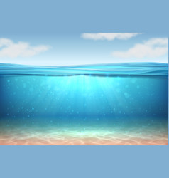 Realistic underwater background ocean deep water vector