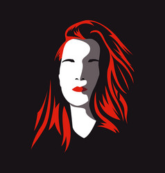 Red-haired womans face without eyes vector