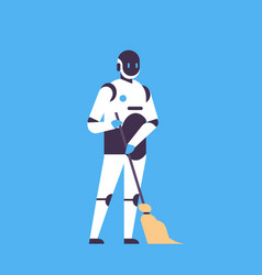 robot holding broom cleaning service concept house vector image