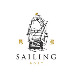 sailing boat logo icon vector image