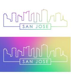 san jose costa rica skyline colorful linear vector image