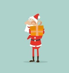 Santa Claus holds in his hands a box with a gift vector image