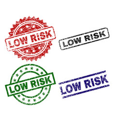 Scratched textured low risk stamp seals vector