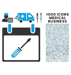 Screwdriver tuning calendar day icon with 1000 vector
