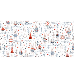 seamless nautical baby pattern with sea rabbit vector image