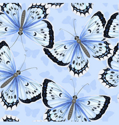 seamless pattern with blue watercolor butterflies vector image